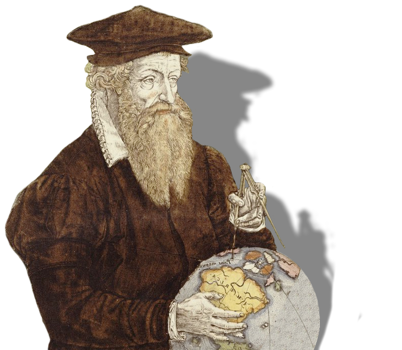 Galileo with calipers and a world globe.
