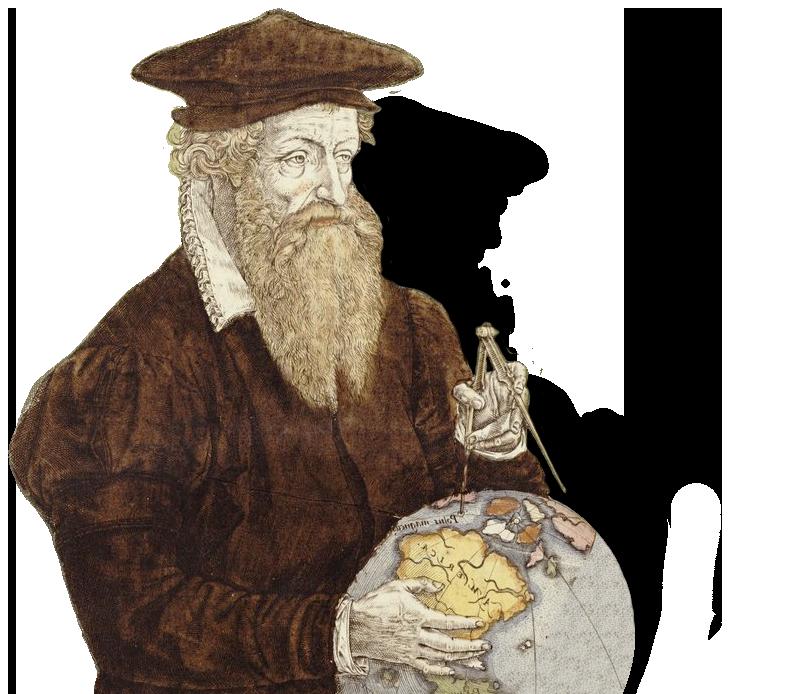 Galileo with calipers and a world globe.