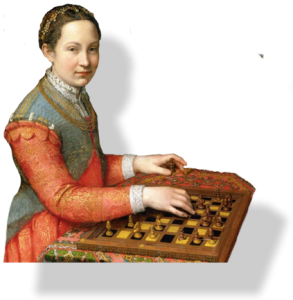 A woman in renaissance dress with an intelligent expression playing chess.