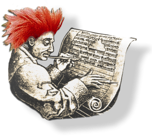 A monk in an old black and white woodcut working on a manuscript and wearing a bright orange fright wig.