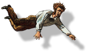 A man from a victorian wood cut falling through the air.