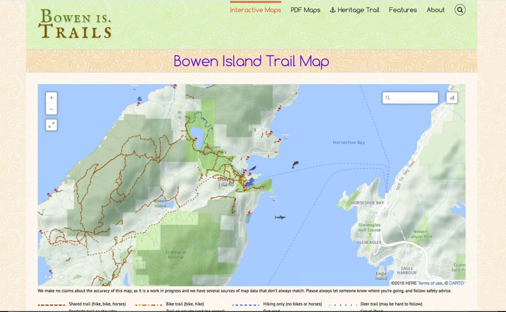 Home page features lare interactive map of Bowen Island