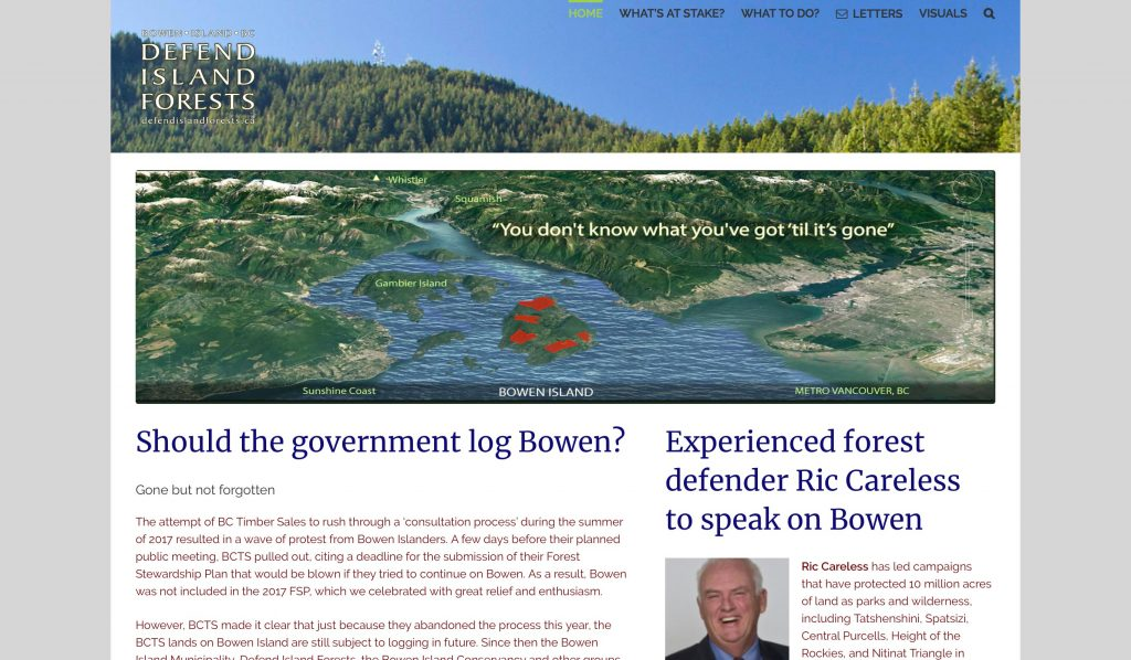 Home page of Defend Island Forests website. Shows a high elevation image of Howe Sound with Bowen Island in the centre, and large patches of red scattered on it. These are areas that could be logged.