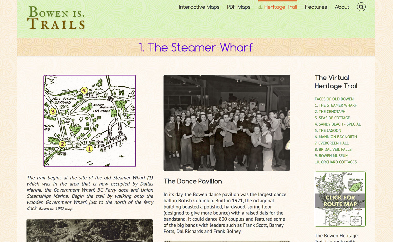Page one of the heritage trail websites, about the Steamer Wharf on old Bowen Island. A photo of people in the 1920s in the dance hall.