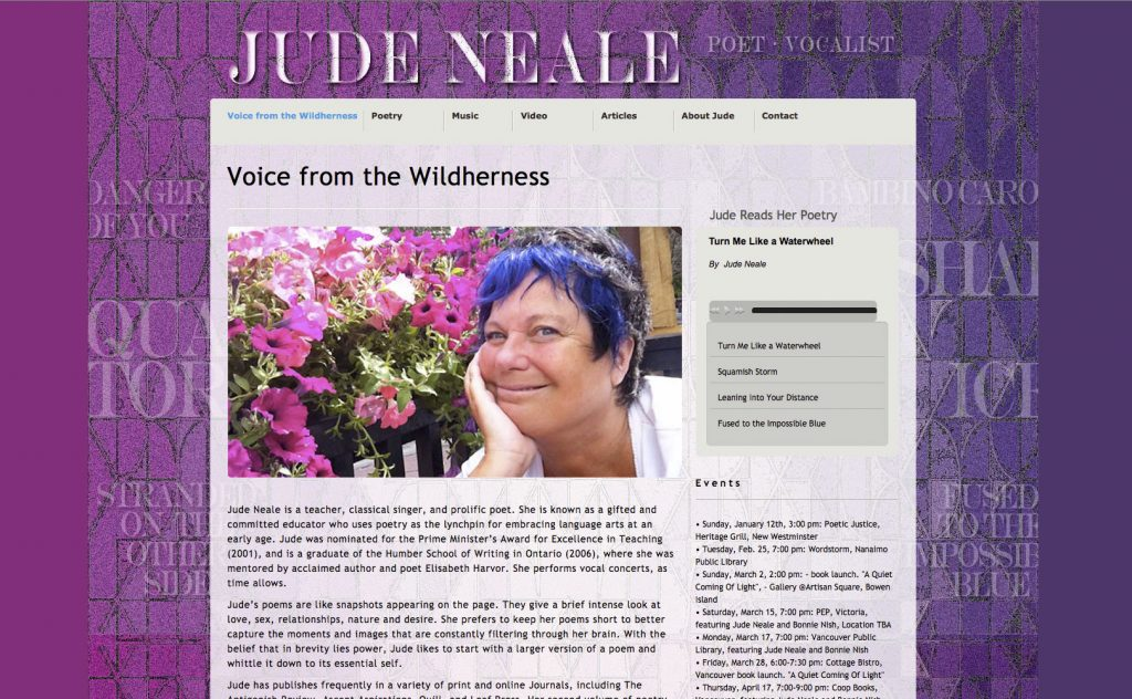 The Title is Jude Neale : poet and vocalist. The subtitle is Voice from teh Wildherness, and Jude herself with purple hair, leaning into pink flower.A rough wall with large titles etched into it, sucah as Stranded on the Other Side.